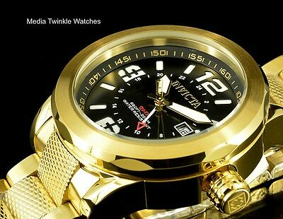 Invicta 50mm Coalition Forces SWISS Quartz GMT BLACK DIAL Gold Tone SS Watch