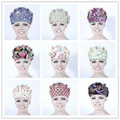 2017 New 9 Kinds Printing Scrub Cap Bouffant Medical Surgical Surgery Hat/Cap