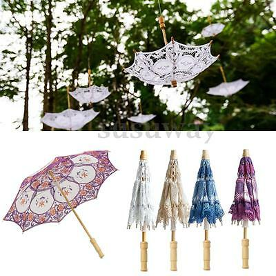 Handmade Embroidered Lace Parasol Umbrella For Bridal Wedding Party Decoration