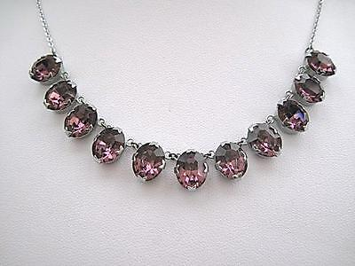 Beautiful Edwardian/Deco Amethyst Glass Linked Necklace