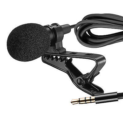 Neewer Black Lapel Microphone Clip-on Omnidirectional Condenser Mic f Recording