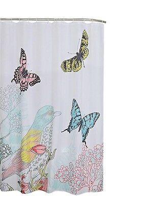 New Pink Blue Green Butterfly Butterflies Colorful White Fabric ...