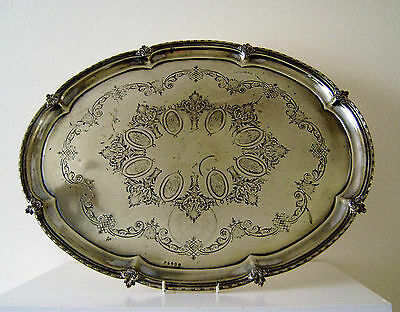Large oval Silver Plate Serving Butler's Tray Ornate engraved Vintage (N 3)