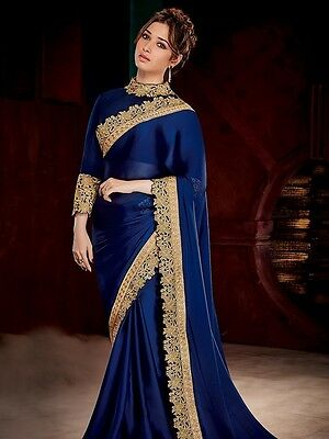 Latest Indian Bollywood sari designer Navy Blue Ethnic Partywear fancy saree