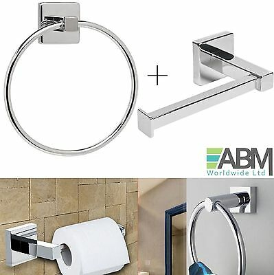 NEW Chrome Square Bathroom Toilet Roll Holder Towel Ring Set Fittings Included