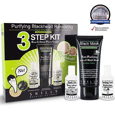 SHILLS Purifying Blackhead Removing 3-Step Kit Set (Softener, Black Mask, Toner)
