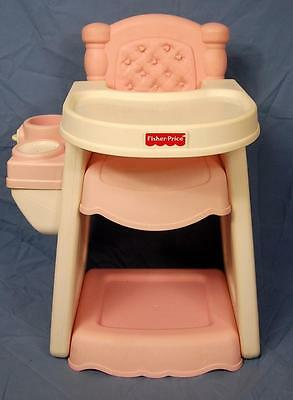 Vintage Fisher Price Doll High Chair Durable Heavy  WITH HTF TRAY!