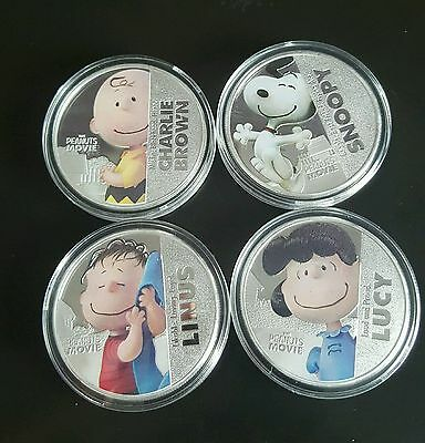 Peanuts Charlie Brown, Snoopy, Lucy & Linus New Zealand 2015 Fine Silver Plated