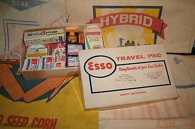 1950s Esso Gas Station Travel Pac Kit Sign Tins Can Motor Oil Vintage Pump Old