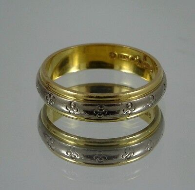 18ct Gold Wedding Band Ring White Gold Detail 5mm 6gr