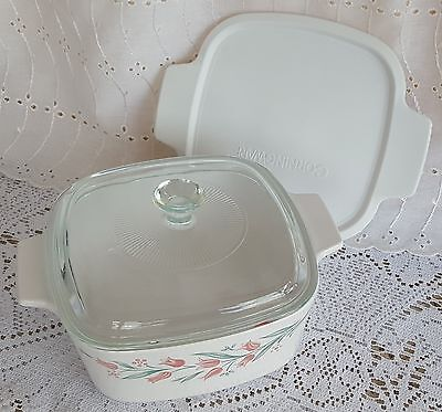 Corning Ware Corelle Rosemarie Casserole A-1.5 Glass & Plastic Lid Seal Pyrex