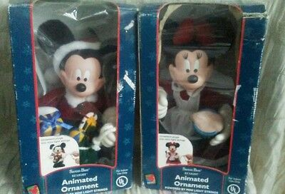 Santas Best Animated Christmas MICKEY & MINNIE MOUSE Mr.& Mrs Claus w Boxes-1998