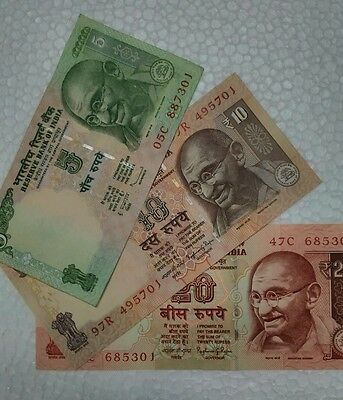 3 Different Notes -GANDHI - India Bank Notes - GEM UNC   j  FREE SHIPPING