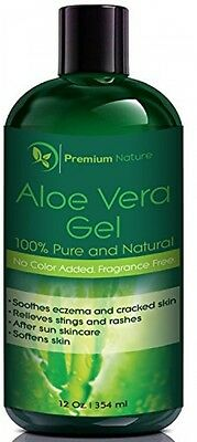Premium Nature 100% Organic Aloe Vera Gel For Face Body and Hair 12 Oz Soothes