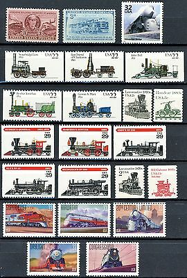 Collection of 22 Different USA Train Stamps All MNH Stamps See Scott # Listing