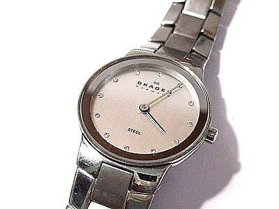 Classy Skagen Watch Denmark Crystals Stainless Steel Gently Used