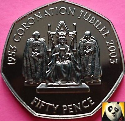 2001 FALKLAND ISLANDS 50p Fifty Pence Charles II Silver Proof Crown Size Coin