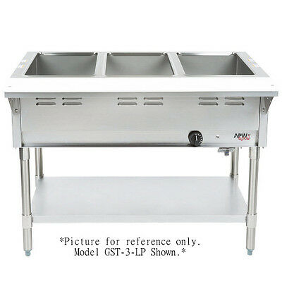 APW Wyott GST-3-NG 3 Compartment Champion Hot Well Steam Table- Uses Natural Gas