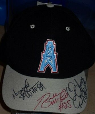 Houston Oilers Black And Grey  Cap With 3 Autographs