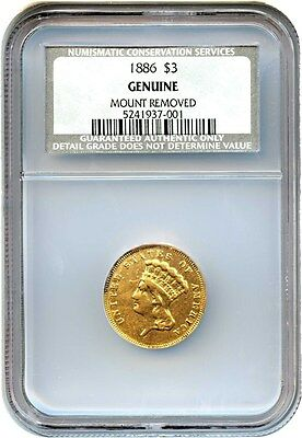 1886 $3 NGC Genuine (Mount Removed) - Low Mintage Princess Gold