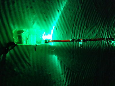 2 FISHING ROD LED TIP LIGHTS Green complete with batteries