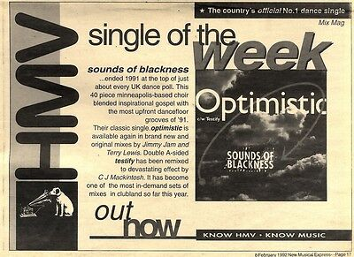 8/2/92Pgn17 Advert: sounds Of Blackness Classic Single optimistic 7x11""