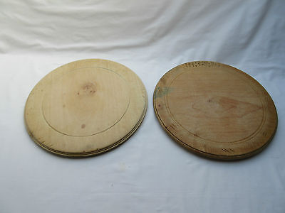 old not vintage round wooden bread boards x 2