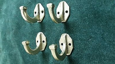 4 matching vintage Solid brass Coat hooks  Mission Style  cleaned and polished