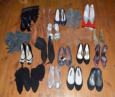 Huge Bundle Job Lot 19 Pairs Ladies Shoes Heels Flats Boots All Listed Designer