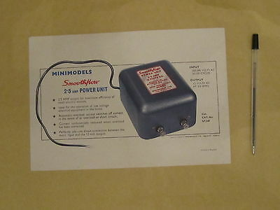 Scalextric Information sheet for 2.5 amp power unit 1960' vintage