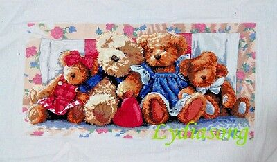 """2017 New Completed finished cross stitch needlepoint""""BEAR FAMILY""""home decor gift"""