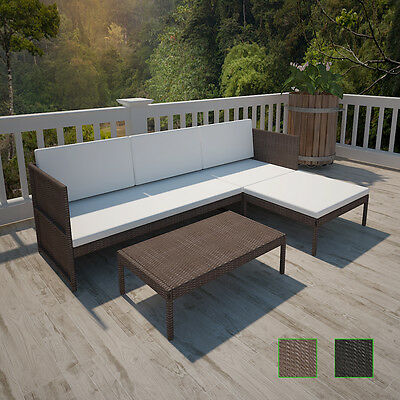 Black/Brown Wicker Rattan 3 Seater Indoor/Outdoor Lounge Setting Sofa Couch
