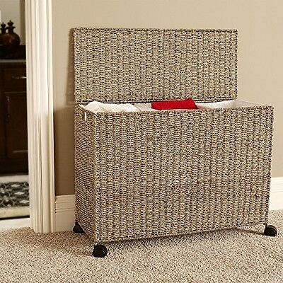 Triple Laundry Sorter 3 Bag Clothes Hamper Organizer Woven Basket Bin Lid Wicker