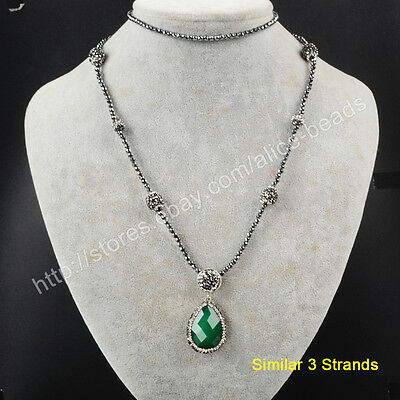"3Pcs 30"" Drop Green Jade Faceted With CZ Paved Black Beads Chain Necklace TJA396"