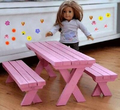 "Build a Picnic Table designed for 18"" Dolls (American Girl, Maplelea) DIY Plan"