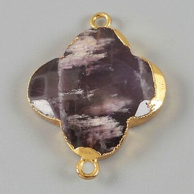 Clover Natural Amethyst Faceted Connector Gold Plated B021453