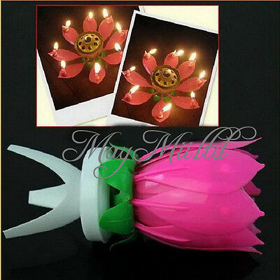 Spin Musical Birthday Candle Flower Party Gift Sparkler Cake Topper Rotating Y