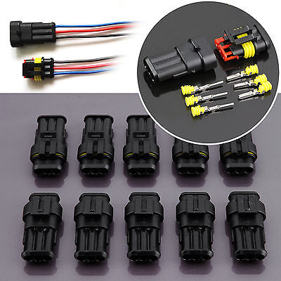3 Pin Way Waterproof Wire Cable Connector Electrical Plug Male & Female