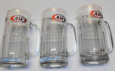 """VTG Lot of 3 A&W ROOT BEER FLOAT 7"""" GLASS MUGS Heavy Thick Glass"""