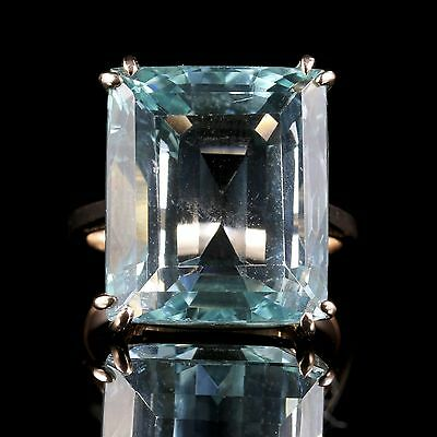 Antique Art Deco Aquamarine Gold Ring 30Ct Aquamarine Emerald Cut