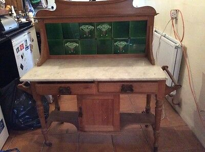 Antique Victorian pine and marble washstand