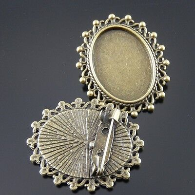 33105 Retro Antiqued Bronze Tone Oval Pin Brooch Fit For Cameo 25*18mm 15pcs