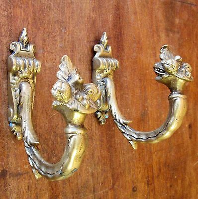 Antique French Heavy Bronze Curtain Hold Backs Ornate Bouquet Signed Tie Hooks