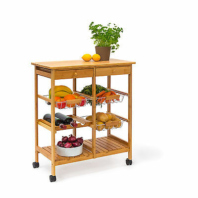 JAMES XXL Bamboo Kitchen Trolley Serving Cart Island with Wheels, Wine Storage