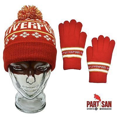 Liverpool Football Bobble Hat & Glove Set Birthday Gift Red One Size