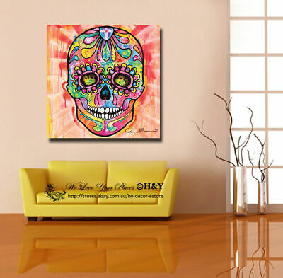 Sugar Skull Stretched Canvas Print Framed Wall Art Home Office Decor Painting