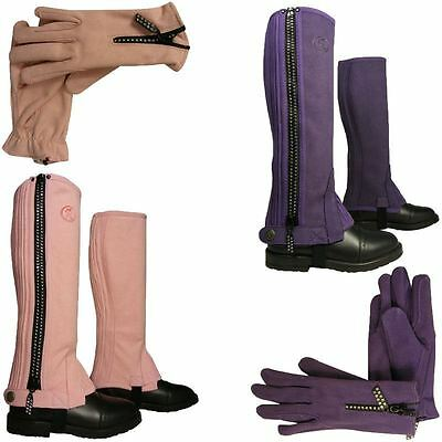 Childrens Diamante Horse Pony Riding Girls Suede Gaiters Kids Half Chaps Gloves