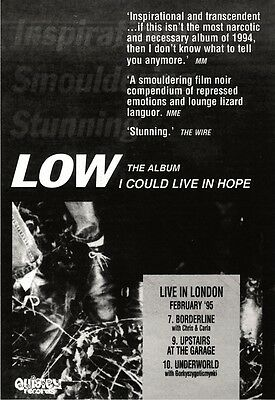 "11/2/95Pgn38 Album Advert 7X5"" Low : I Could Live In Hope"