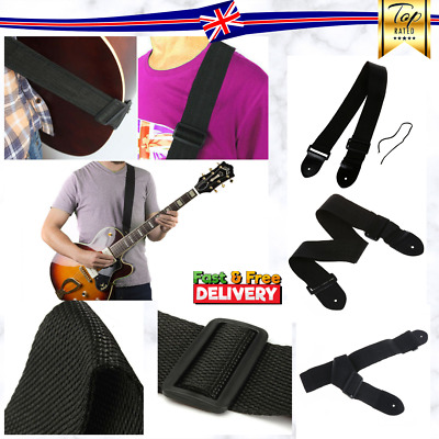 Black Adjustable Firm Nylon Neck Strap For Acoustic Electric Classic Guitar Bass