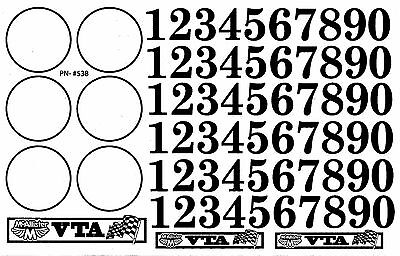 Vintage Style Racing Number Decals RC Cars, VTA, Vintage Trans Am, Sprint Cars